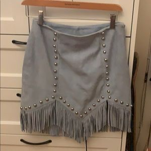 Crystal Suede Mini Skirt Light Blue by NBD Revolve